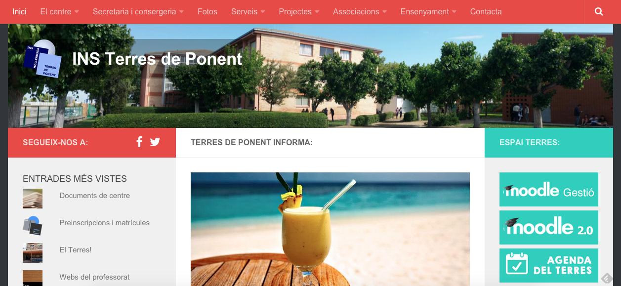 La web del centre Terres de Ponent.